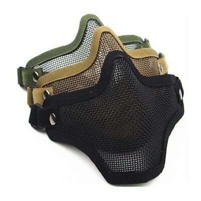 Airsoft Metal Steel Mask Net Mesh Half Lower Face Protective for Paintball Mask