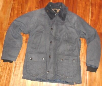 Barbour Authentic Men's Vintage Bedale Navy Blue Waxed Jacket size M