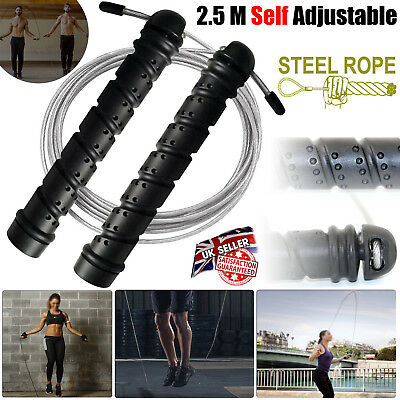 Pro Weighted Speed Skippng Jumping Rope Cable Steel Boxing Gym Fitness Exercise.