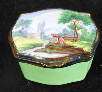 Antique 19Th Century Enamel Snuff Box Village Scene Bilston Continental