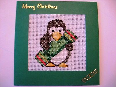 "Christmas Card Completed Cross Stitch Penguin & Cracker 5.5"" Sq"