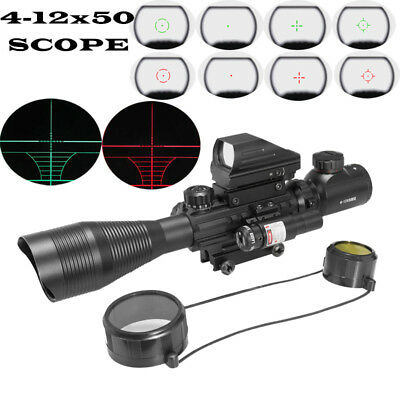 4-12X50 EG Rangefinder Reticle Riflescope w/ Holographic Dot Sight + Red Laser