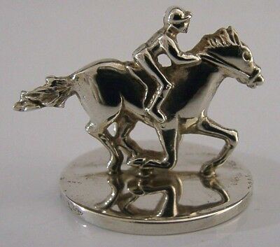 English Solid Silver Horse Riding Racing Menu Business Card Holder London 2001