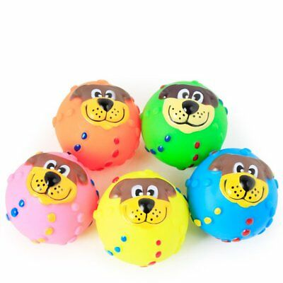 Dog face ball Pet Puppy Dog Squeaky Toy Fetch Bite Resistant Squeeze Chew Toy HT