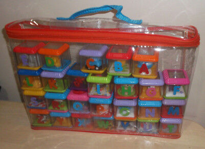 Fisher Price See Through Peek A Blocks 26 Alphabet A - Z Complete in Zipper Case
