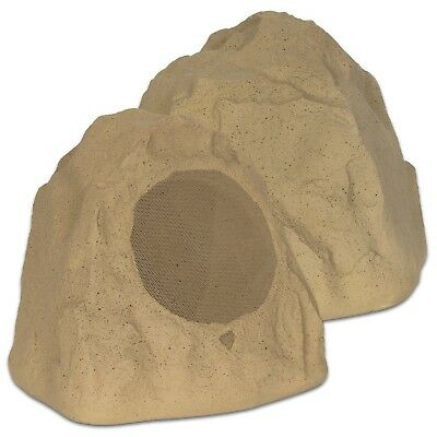 """Theater Solutions 2R8S Outdoor Sandstone 8"""" Rock 2 Speaker Set for Deck Pool Spa"""