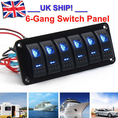 Pro 6 Gang ON-OFF Toggle Switch Panel Fit For Marine Truck Camper Car Boat