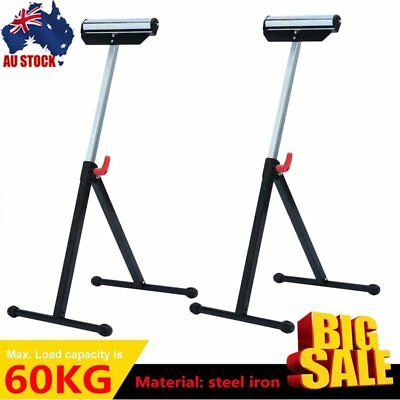 2X Roller Support Stand Steel Heavy Duty Adjustable Foldable Bench Saw Storage