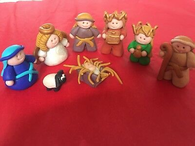 Sweet 8 pieceMiniature Nativity Set Made Out Of Poly Clay