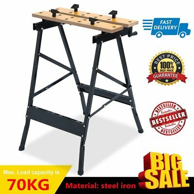 Foldable Workbench Saw Horse Trestle Work Bench Stand MDF Adjustable Angle