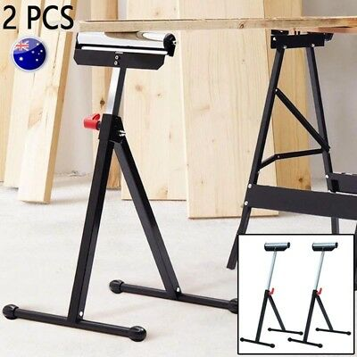 2Pcs Adjustable Pedestal Feed Roller Support with Ball Bearing Steel Roller