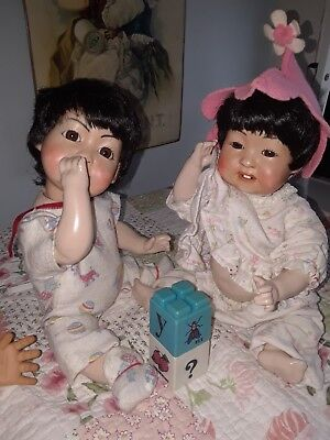 Asian Baby Dolls With Teeth Seeley Bodies Twins Old Vintage