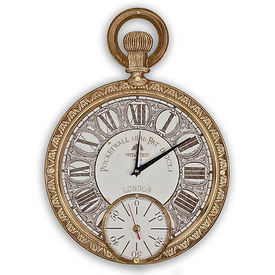Pocket watch HANDCRAFTED wooden wall clock large white gold presonalized gift