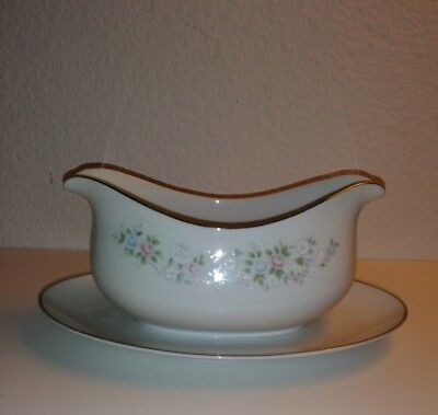Carlton China - 481 - Corsage Pattern - Made in Japan - Gravy Boat w Underplate