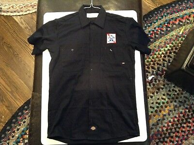Pabst Blue Ribbon Beer Dickies Blue Button Work Shirt Hipster SZ S - Cool