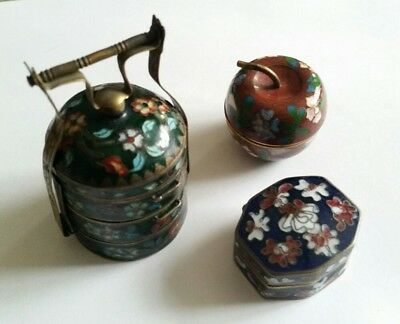 Collection Of Vintage Chinese Cloisonne Items, Pill Boxes