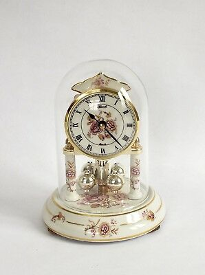 Hermle Quartz Anniversary Clock with Glass Dome & Porcelain Working Well