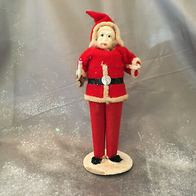 Vintage Christmas Paper Mache Santa with Felt Suit Holding Candle