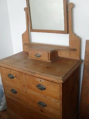 waxed antique old original victorian pine dressing table/deep drawers mirror