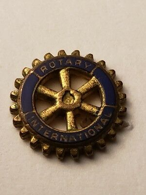 Vintage Rotary International Gold Colored & Enamel Lapel/Pin - Metal Unknown
