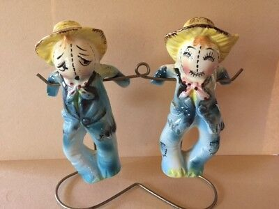 Vintage Ceramic Salt And Pepper Shakers Hanging Scarecrows- Cute!