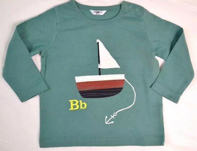Ex Baby Boden Boys Green Boat  Applique Logo Long Sleeve Top Age 18/24 Months