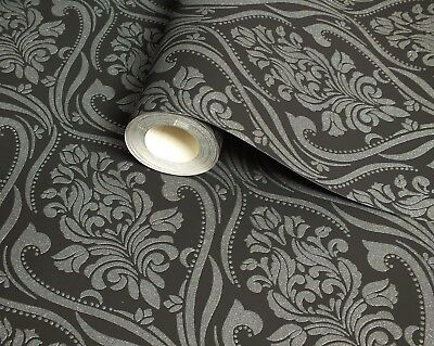 Black & Silver, Slightly textured Blown vinyl, Glitter Damask Wallpaper