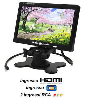 Monitor 7 Pollici Hdmi + Vga + 2 Ingressi Video Rca  - Auto Camper Casa Barca