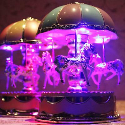 Fairy Dome Carousel 3-Horse Merry-Go-Round Wind-Up Mechanical Music Box w/ Light