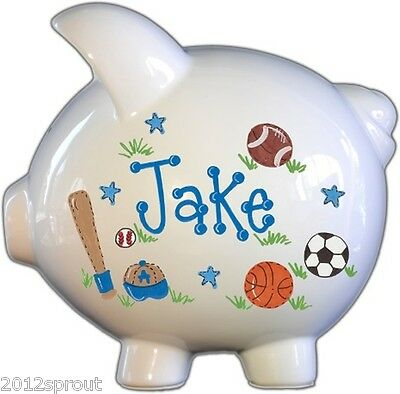 Piggy Bank Boy sports design, large piggy bank, perfect for baby shower gift