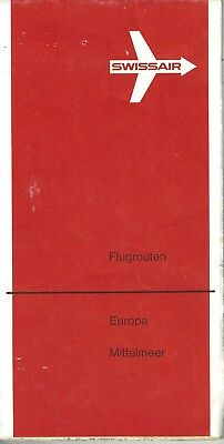 Airline maps  -  SwissAir  vintage route map  early 70's
