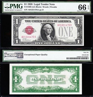 Amazing GEM++ 66 UNC 1928 $1 RED SEAL US Note! FREE SHIP! PMG 66 EPQ! A01331476A