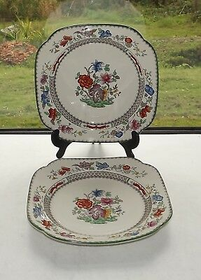Copeland Spode Chinese Rose Pattern c1950s 2 x Cake Plates 22cm sq Rd 629599
