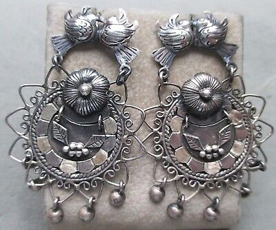 cba70ef2c Vintage Sterling Silver Federico Jimenez Earrings Frida Kahlo Style Mexico  Birds