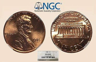 1985 1C NGC MS68 RD Lincoln Cent - Only 9 Higher - RicksCafeAmerican.com