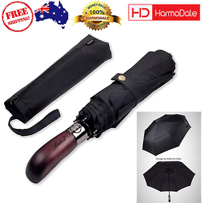 Balios Prestige Travel Umbrella Real Wood Handle Vented Windproof Double Canopy