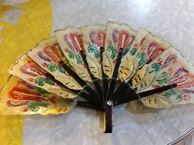 Antique  Hand Painted Fan Handmade Carved - GORGEOUS Detail and Coloring