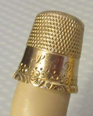 antique Waite Thresher 10K SOLID GOLD THIMBLE mono PGD fancy dot scroll band