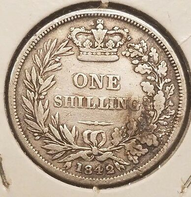 1842 Great Britain Silver One Shilling-Nice Circulated British Coin