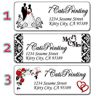 30 Wedding Invitation Return Address Labels Black & White Elegant Classy Custom