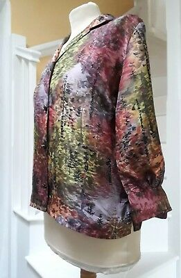 Vintage late 1950s early 60's forest print Regina silk blouse excel condition 10