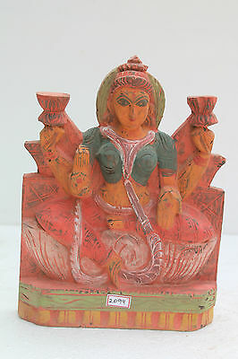 Vintage Old Wooden Hand Carved Goddess Laxmi Wall Hanging Figurine Statue NH2094