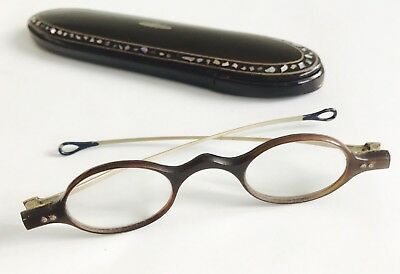 Antique Horn Spectacles Eyeglasses and Antique Wood Spectacle Case  19th C