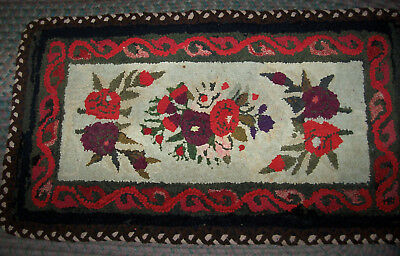 "Antique Handmade Flower Hooked Braided  Rug / Table Rug 22"" X 39"""