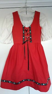 German Girls Landhaus Dirndl Dress Oktoberfest Red trachten traditional blouse