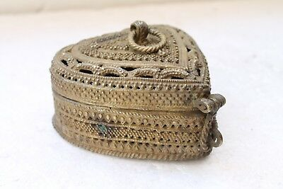 1900's Vintage Old Brass Casting Rare Jali Work Beautiful Heart Shape Box NH4779