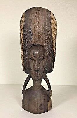 """Wooden African Tribal Art Statue: Carved Unique Face/ Hair Sculpture Figure 10"""""""