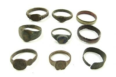 Authentic Lot Of 9 Ancient Roman / Medieval Bronze Rings - Wearable - H15