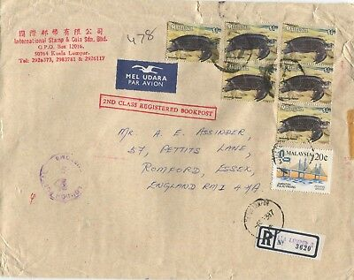 """MALAYSIA - 1987 Registered Envelope to U.K.  """"with CUSTOMS rubber stamp in front"""