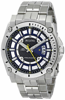 NEW Hot! Bulova 96B131 Men's Precisionist Champlain Silver Stainless Steel Watch